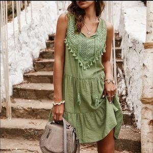 Olive Boho Mini Dress